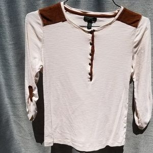 NEW LRL Cream/Brown Long Sleeve Tee MED